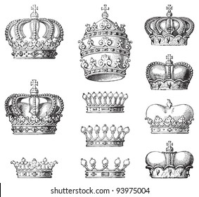 Collection of crowns / vintage illustration from Meyers Konversations-Lexikon 1897