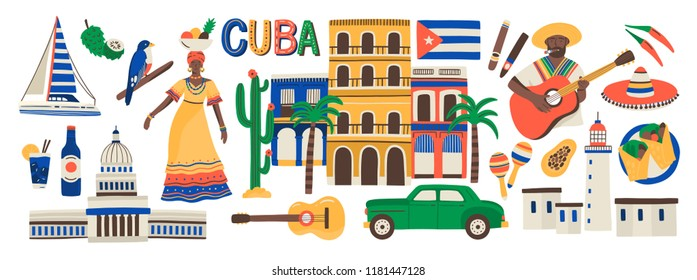 Collection of Cuba attributes isolated on white background - musical instruments, Cuban rum, flag, building, sombrero hat, chili pepper. Colorful vector illustration in modern flat cartoon style.