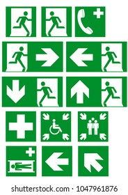Collection of current escape signs according to ASR A1.3. EPS 10 vector file