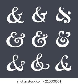 Collection of custom decoration ampersands for wedding letterpress invitation. Polished hand drawn type. Vector illustration