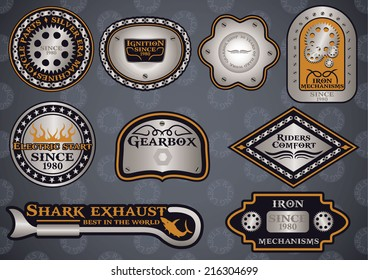 Collection of customizable motor sport steel labels