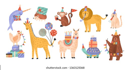 Collection of cute adorable wild animals celebrating birthday at party. Bundle of funny amusing cartoon characters in cone hats holding cake, gifts, balloons. Flat childish vector illustration.