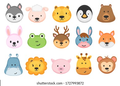 Collection of cute animal characters in cartoon style. Set of cute animal heads. Cartoon zoo. Giraffe, rabbit, bear, monkey, hippo, sheep, pig, lion, penguin, tiger, donkey, frog, fox, deer. Vector.