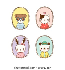 Collection of cute animals including dog, cat, rabbit and bear with vintage frames on pastel color style. Isolated on white background. Flat design. Vector illustration.