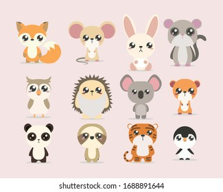 collection of cute baby animals vectors