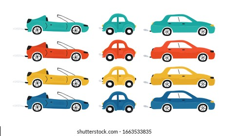Collection of cute baby's cars isolated on a white background. Icons in hand drawn style for design of children's rooms, clothing, textiles. Vector illustration