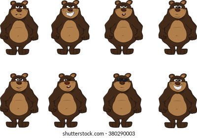 Collection of cute bear emotions icon. Smiling, sad, angry, cute, confused, wink, bear in dark glasses, yawn bear