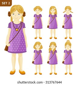 Collection of cute blonde little girls with different hairstyles. Full-length portrait.