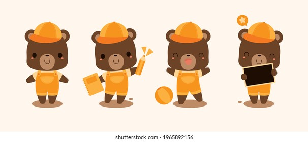 Collection of cute brown bear student cartoon characters wearing orange overalls and cap . Back to school concept. Flat vector illustration.