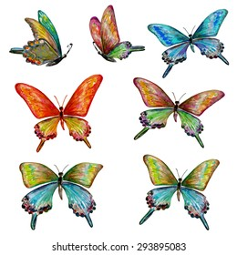 collection of cute butterflies. watercolor painting