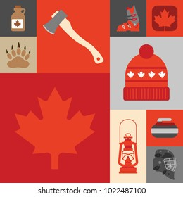 A collection of cute Canadian icons in vector format.