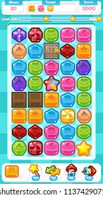 Collection of cute candy and other objects for creating puzzle and match three video games