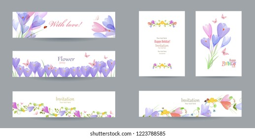 collection of cute cards template with crocus and butterflies for your design