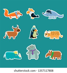 Collection of Cute Cartoon Animal Stickers, Fox, Toucan, Wolf, Cow, Penguin, Tiger, Rhino, Hippopotamus, Aardvark Vector Illustration