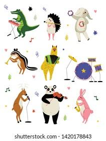 Collection of Cute Cartoon Animals Musicians Characters Playing Various Musical Instruments, Crocodile, Hedgehog, Elephant, Gopher, Alpaca, Deer, Panda Bear, Bunny, Fox Vector Illustration