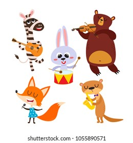 Collection of cute cartoon animals with muzical instruments isolated on white. Vector illustration of animal character in music band used for magazine, children book, poster and card.