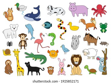 Collection of cute cartoon animals, wild animals, aquatic animals, birds on white background. Vector illustration.