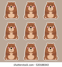 Collection of cute cartoon brown bear emotions icon. Flat animals emoji set vector on grey background.