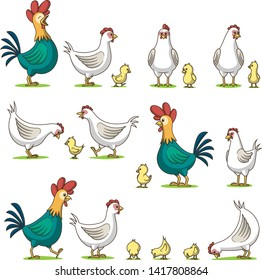 Collection of cute cartoon chicken. Isolated on white background.