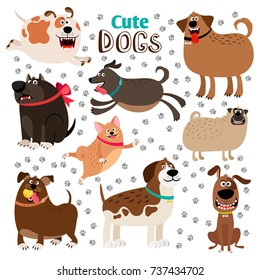 Collection of cute cartoon dogs and dogsfootprints on whote background. Vector illustration