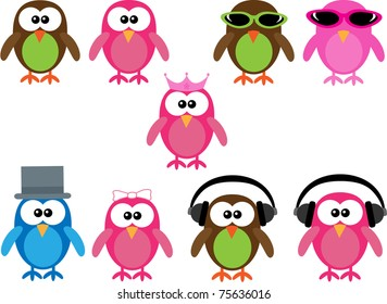 Collection of cute cartoon illustration owls