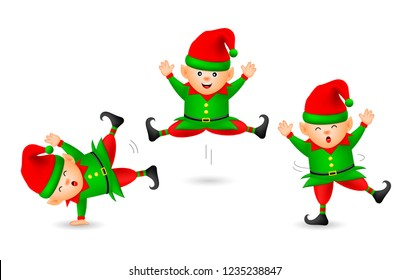 Collection of cute cartoon little elf. Merry Christmas and Happy New Year. Illustration isolated on white background.
