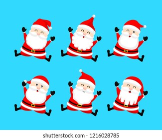Collection of cute cartoon Santa Claus. Merry Christmas and Happy New Year. Vector illustration isolated on blue background.