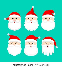 Collection of cute cartoon Santa Claus. Merry Christmas and Happy New Year. Vector illustration isolated on green background.