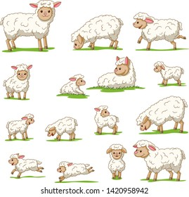 Collection of cute cartoon sheep and lambs. Isolated on white background.
