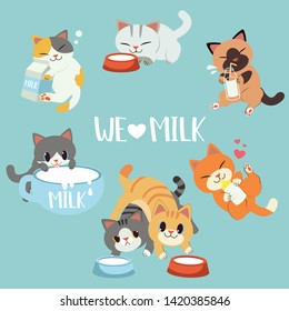 The collection of  cute cat love milk. some cat hugging a bottle of milk and box on the floor. some cat drinking a milk form bowl and big cup .cute cat in flat vector style.