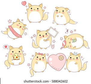 Collection of cute cats with different emotions in kawaii style