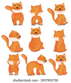 Collection of Cute cats in different poses. Domestic, funny cats on white background. Red cats. Vector icons.