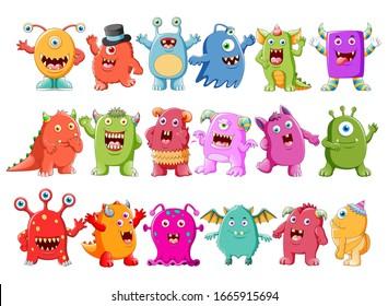 Sammlung süßer Monsterillustrationen