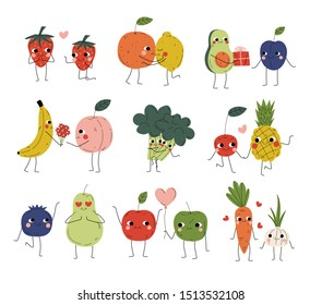 Collection of Cute Cheerful Vegetables, Fruits and Berries Characters Holding Hands, Hugging, Kissing and Giving Gifts, Best Friends, Happy Couples in Love Vector Illustration