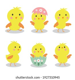Collection of cute chicks on white background