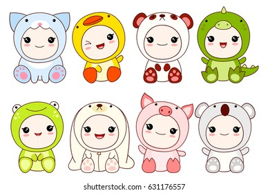 Image of: Redbubble Collection Of Cute Children In Different Costumes Of Animal Dragon Panda Rabbit Checkwindows Kawaii Cat Images Stock Photos Vectors Shutterstock