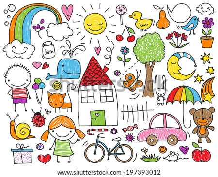 Collection Cute Childrens Drawings Kids Animals Stock Vector