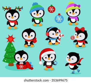 Collection of cute Christmas penguins kids. Vector illustration.