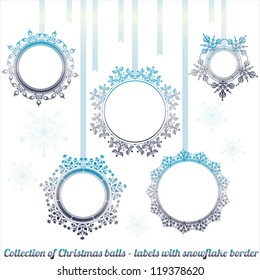 Collection of cute Christmas tree balls hanging - labels with snowflake border