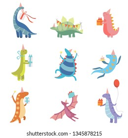 Collection of Cute Colorful Dinosaurs in Party Hats, Funny Blue Dino Characters, Happy Birthday Party Design Elements Vector Illustration