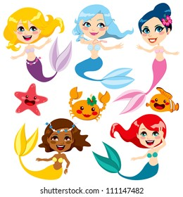 Collection of cute colorful mermaids and sea friends