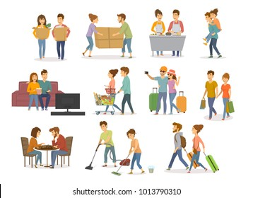 collection of cute couples activities, man and woman shopping in mall, supermarket, moving in a new home, cleaning, watching tv on sofa, travel, cooking,  play chess, have fun vector illustration set