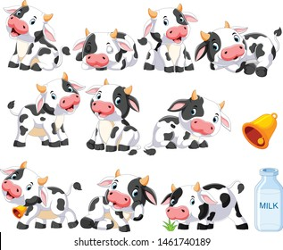 Sammlung süßer Kuh mit verschiedenen positisierenden Formen