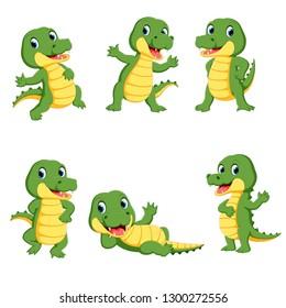 collection of cute crocodile character cartoon
