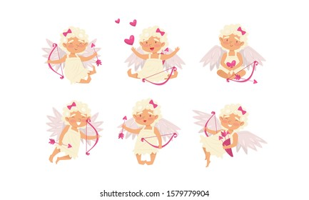 Collection of Cute Cupid Girls in Different Actions, Adorable Cherubs Shooting with Bow and Arrows Surrounded with Pink Hearts Vector Illustration