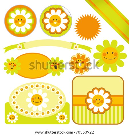 collection cute daisy flower template labels stock vector royalty