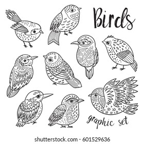 Collection of cute decorative tropical birds. Black and white vector illustration. Stylized birds design. Coloring book page
