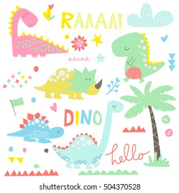 A collection of cute dinosaurs themed illustrations.