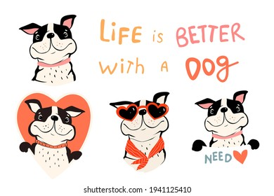 Collection of cute dogs, french bulldog or pug with quote and holding sign. Pet lovers symbols with Heart shapes. Fun Vector clipart in simple flat style for dog lovers.