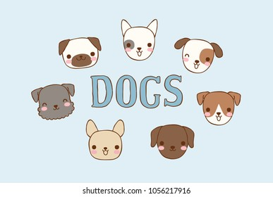 Collection of cute dogs head with text dogs. Isolated on blue background. Flat design. Colored vector illustration.